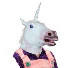 BoatShop Magical Costume Party Halloween Adult Unicorn Latex Head Mask Black *** See this great product. #XmasSeasonalDcor