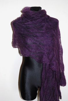 Purple hand knit lace shawl with glass beads Plum by aboutCRAFTS