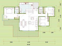 Plano de casa de 16 × 9 m