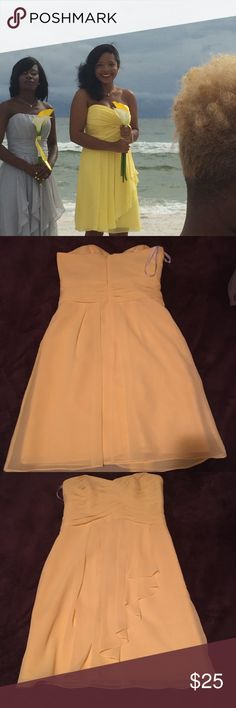 Yellow brides maids dress Beautiful yellow formal dress perfect for any formal occasion.This dress is in great condition and has only been worn once.Reasonable offers accepted💕 David's Bridal Dresses Strapless