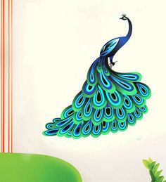 Buy WallTola Unique Blue Peacock PVC Vinyl Wall Sticker Online ...