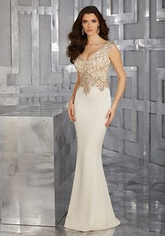 MGNY 71618 Champagne Mother Of The Bride Dress