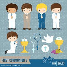 PRIMERA COMUNION 2 Digital Clipart, Primera Comunion Clipart  / Descarga Instantanea