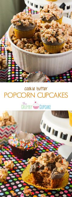 Cookie Butter Popcorn Cupcakes | The simplicity of cupcakes + the intrigue of cookie butter + the whimsy of popcorn = one unique and tasty dessert that's perfect for any celebration! // @CrumbyCupcake