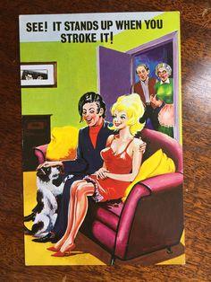 "Vintage NAUGHTY Saucy Funny Comic British Humor Post Card - ""See! It stands..."" Vintage Labels, Vintage Postcards, British Humor, Lazy Sunday, Post Card, Funny Comics, Vintage Advertisements, Antiques, Shop"