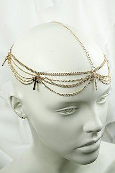 Cross Chain Gold Headband