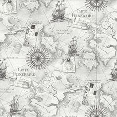 NEW ARTHOUSE NAVIGATOR VIP CARTOGRAPHY LUXURY VINTAGE NAUTICAL MAP WALLPAPER (SILVER GREY 622004)