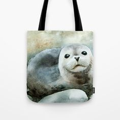 Curious seal on the pebbles Tote Bag by zawij Womens Tote Bags, Seal, Reusable Tote Bags, Harbor Seal