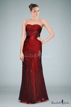 c44dcb386e850 Red Strapless Column Evening Gown Enhanced with Rays of Beadings and  Delicate Pleats