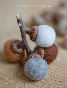 Add a touch of rustic nature to your seasonal decor with these handcrafted felted acorns. Easy to make using real acorn caps.