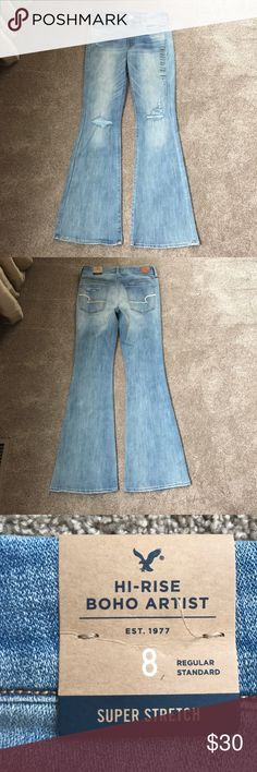 American Eagle high rise boho artist jeans NWT New with tags! Only tried on! Boho distressed American eagle jeans! Huge summer sale! Everything must go! Make offers! American Eagle Outfitters Jeans Straight Leg