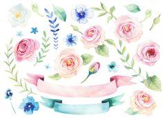 Watercolor boho flowers by Peace ART on @creativemarket
