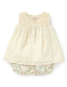 3 Piece Floral Top, Bloomer Shorts Outfit with Hat Clothing