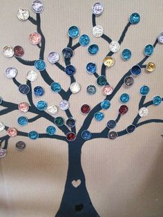 tree capsules at Vivi: Button Tree Art, Button Art, Button Crafts, Cup Crafts, Craft Stick Crafts, Diy And Crafts, Class Art Projects, Diy Projects, Recycled Crafts