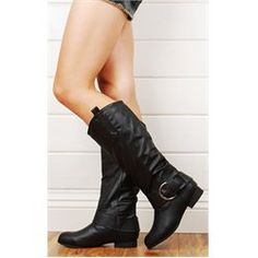 Tosca29 Wide Strap Knee Riding Boots BLACK