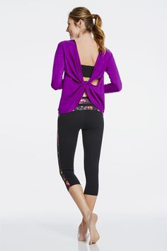 Avianna Top in Tulip (super comfy, bright flattering color, arm coverage while still showing some skin in a unique way) + Lilac Bra in Black + Camacan Capri in Black/Impasto (love leggings in capri length with the slimming printed side panel and waistband) = my ideal workout gear - would probably opt for a different sports bra, though
