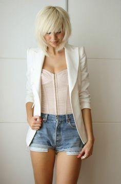 Shag. high waist shorts, corset top and blazer.