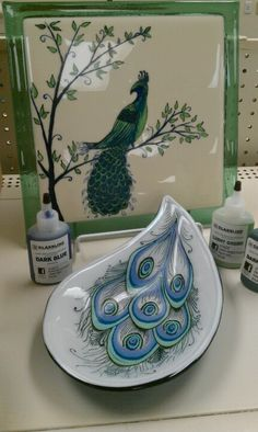 Hand painted fused glass peacock bowl and plaque