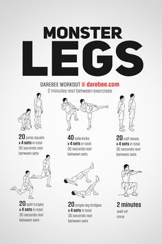 Want visible results from your leg workouts? Check out this Monster Legs Workout routine. This leg routine is not for beginners. Leg Workouts For Men, Leg Workout At Home, Workout Routine For Men, Gym Workout Tips, Fun Workouts, At Home Workouts, Leg Routine, Calisthenics Leg Workout, Workout Plans