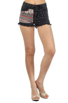 Black Super Stretchy High Rise Shorts with Tribal Patch and Rivet Spike Detail (FREE SHIPPING)