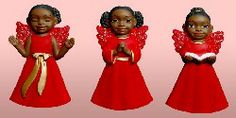 Cherub Set I (Red): African American Christmas Ornaments