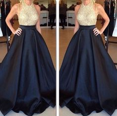 2016 Halter Neck Prom Dresses, Gold and Black Prom Dress, Puffy Long Formal Dress, A-line Evening Gowns, Blue Prom Dress, Satin Prom Dress, Beading Prom Dress