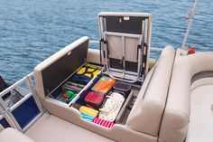 Pop-up changing room w/bench seat & storage net http://www.exclusiveautomarine.com/product/party-barge-24-xp3