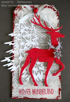 christmas tag with tree & pranching deer sizzix Tim Holtz nordic knit holiday knit christmas knit stencil - yaya scrap & more: 12 TAGS OF 2015 NOVEMBER Christmas Paper Crafts, Christmas Gift Tags, Xmas Cards, Handmade Christmas, Holiday Crafts, Timmy Time, Handmade Gift Tags, Card Tags, Card Kit