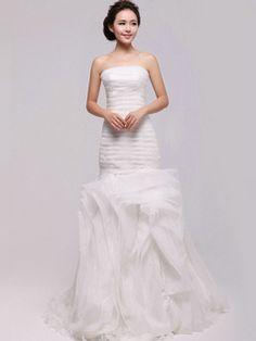 $392.69 Elegant Mermaid Organza Tube Top Tiered Wedding Dresses  #Cheap #wedding #dresses #