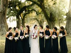 This black-gowned bridal party is elegance at it's best| Image by Jess Jolin Photography