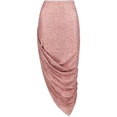 Boohoo Aria Rose Gold Knitted Draped Midi Skirt | Boohoo ($16) ❤ liked on Polyvore featuring skirts, evening skirts, red midi skirt, holiday skirts, red skirt and embellished skirts