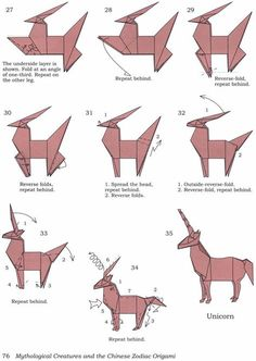 how to fold an origami unicorn! Hogere vouwkunst als je het mij vraagt.Origami Unicorn pattern or art for books shelf styleHow to fold an origami unicorn! I can't wait to make tons of these!origami unicorn--R will flip! Origami Ball, Instruções Origami, Origami Simple, Origami Mouse, Origami Yoda, Origami Star Box, Origami And Kirigami, Origami Paper Art, Origami Dragon