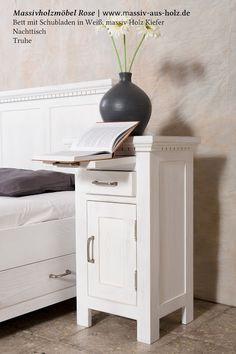 #Nachttisch in #Weiß, #massiv #Holz #Kiefer, www.massiv-aus-holz.de