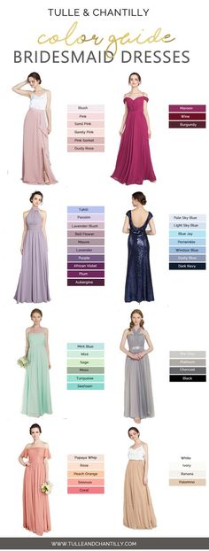 bridesmaid dresses color guide from tulle and chantilly #bridesmaiddresses #weddings