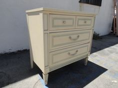 Vintage Modern 3 Drawer Dresser in Cream and Baby Blue Los Angeles by housecandyla, $275.00