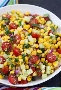 Corn, Tomato & Cucumber Salad | theblondcook.com