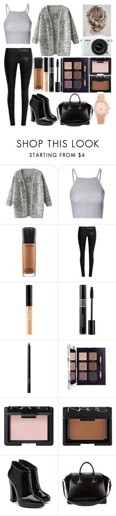 """""""Untitled #94"""" by directioner1608 ❤ liked on Polyvore featuring Nikon, Glamorous, MAC Cosmetics, The Row, Maybelline, Christian Dior, NARS Cosmetics, Tory Burch, Giuseppe Zanotti and Givenchy"""