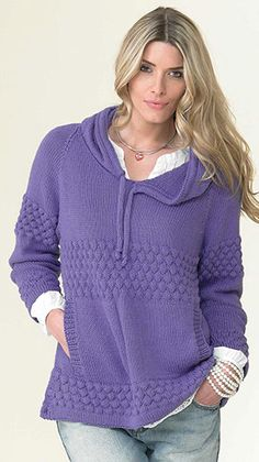 Knitting Pattern for Textured Hoodie or Sweater - #ad Love the soft drape, texture stripes, and pockets of this long-sleeved pullover sweater that can be knit with hood or without. More pics at Annie's tba hoodie