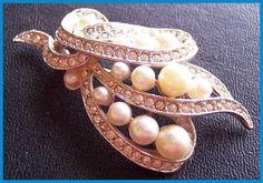 "Vintage Pearl Rhinestone Brooch or Pin Silver Metal Fancy Bridal Prom High End 2.5"" EX CIJ sale. $14.50, via Etsy."