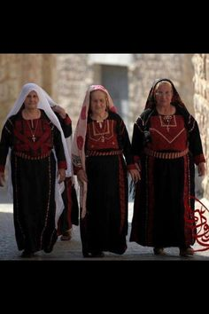 Palestinian Christian women in traditional Palestinian dress. I love this picture because it shows Palestinian identity and diversity.