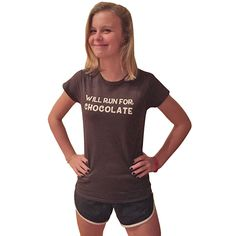 "Women's Short Sleeve Performance ""Will Run For Chocolate"" T-Shirt"