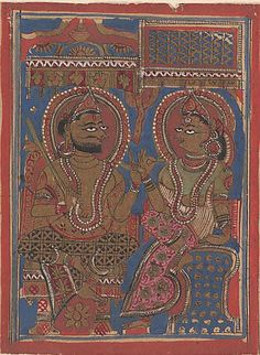 King Siddhartha Tells Queen Trisala the Meaning of the Fourteen Dreams (left) and The Interpretation of Dreams (right): Folio from a Kalpasutra Manuscript Date: 15th century Culture: India (Gujarat) Medium: Ink, opaque watercolor, and gold on paper Dimensions: Overall: 4 3/8 x 10 5/8 in. (11.1 x 27 cm) Classification: Paintings Credit Line: Rogers Fund, 1955 Accession Number: 55.121.38.7