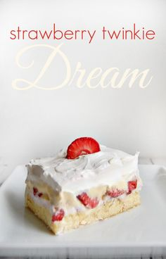 No-bake Strawberry Twinkie Dream Recipe - easy to make and tastes insanely good! Make it in less than 15 minutes - perfect for parties and holidays!