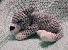 Crochet Sleeping Gray and White Cat Amigurumi by SalemsShop, $15.00