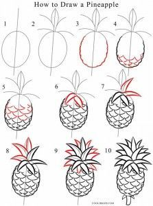 How To Draw A Pineapple Step By Step In 2019 Pineapple Drawing Easy Drawings Drawings