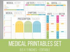 Medical Printables Set  Organizing Printables by FreshandOrganized