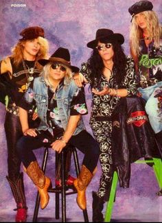 Classic magazine pic of 80s pop metal band Poison, looking quite glam and even effeminate at times.  They rocked hard, through, and they lived wild.  Decadence and subversion with catchy guitar licks.