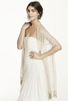"""Mesh Embellished Wrap. Available in Champagne.  Dimensions: 65""""L x 17""""W."""