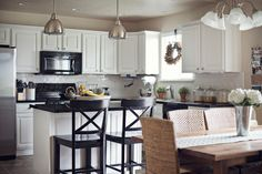 White kitchen and dining room chairs.