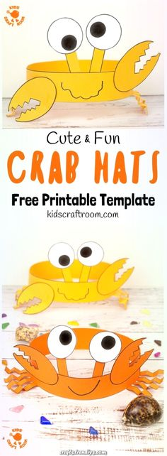 Cute and Fun Crab Hats is part of Beach crafts for kids - How cute and fun are these CRAB HATS Such an adorable Summer craft Easy to make with the printable template Beach Crafts For Kids, Beach Themed Crafts, Toddler Crafts, Art For Kids, Beach Kids, Summer Beach, Kids Fun, Funny Crafts For Kids, Summer Crafts For Preschoolers